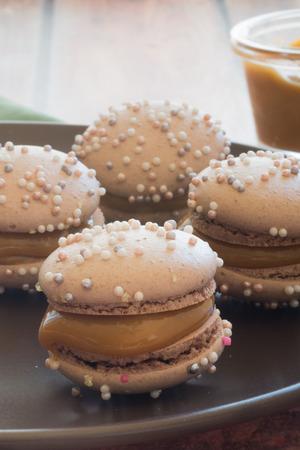 Dulce de Leche filled macaron Stock Photo