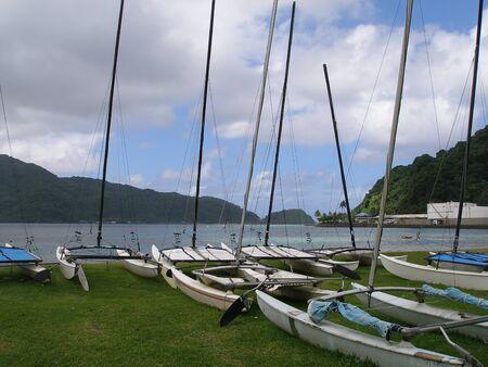 samoa: Boats ready to use in Samoa Stock Photo