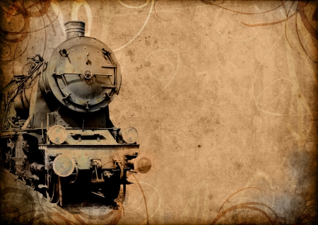 steam iron: retro vintage technology, old train, grunge background illustration Stock Photo