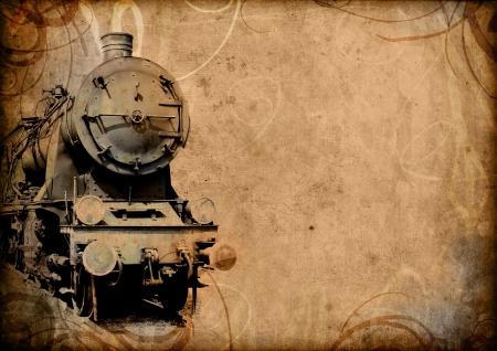 maquina de vapor: tecnología retro vintage, viejo tren, ilustración de fondo grunge