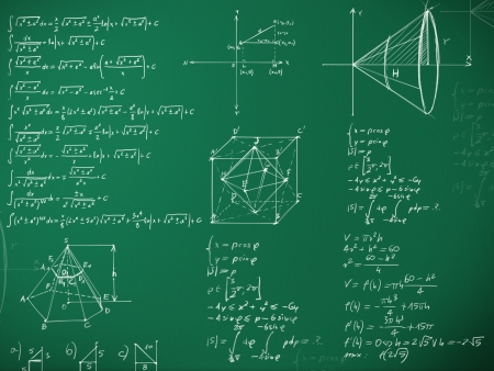 physic: math formulas on school blackboard illustration