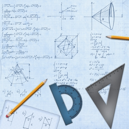 protractor: mathematical desk with formulas and equipment background illustration Stock Photo