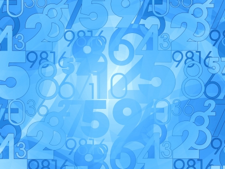 random numbers background blue illustration