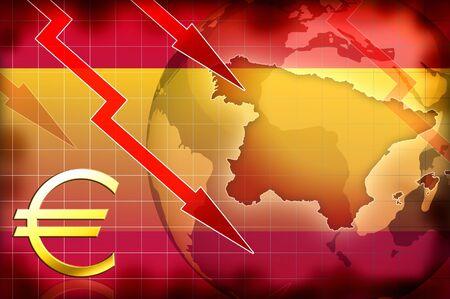 greek currency: spain news crisis background information illustration