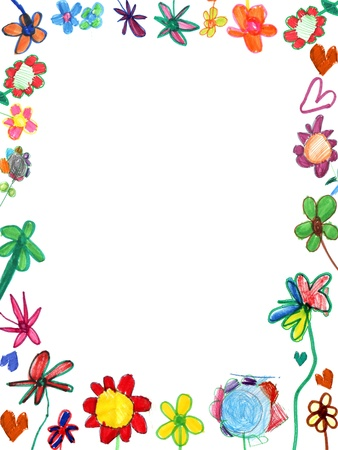 vertical flowers frame, child illustration isolated on white