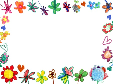 horizontal flowers frame, child illustration isolated on white
