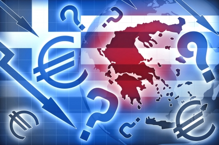 Greece crisis blue red backgroud Stock Photo