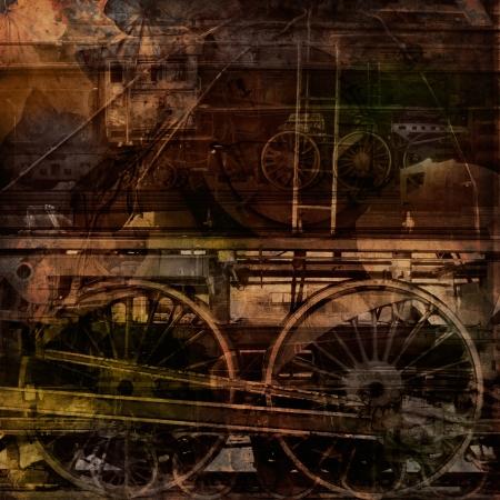 ferrocarril: La tecnolog�a retro, viejos trenes, la textura de fondo grunge Foto de archivo