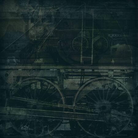 Retro technologia, stare pociągi, ciemne tekstury tła Zdjęcie Seryjne - 14605491