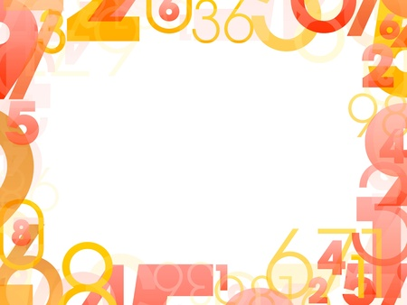 Mathematical frame with random color numbers photo