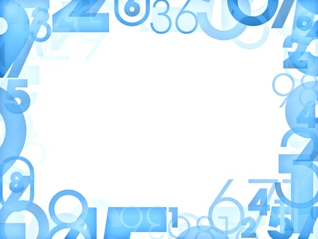 numeric:  Blue random numbers frames isolated on white