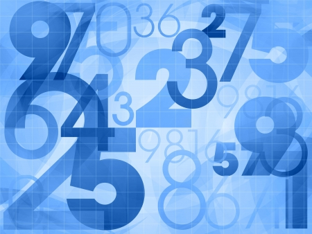 cartoon math: random numbers modern blue background illustration