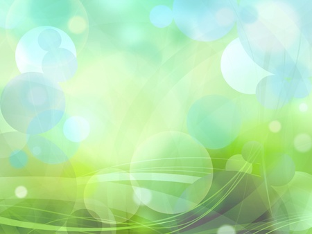 Bokeh circles of light on green background illustration