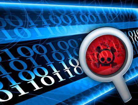 virus informatico: Vidrio centrado sobre el virus en la ilustraci�n c�digo digital