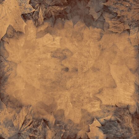 Old leaves sepia vintage autumn background illustration