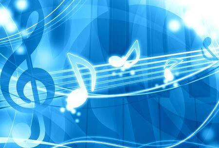 musically: blue music background illustration Stock Photo