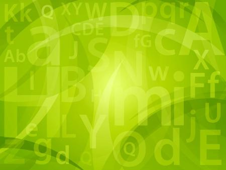 random letters green background