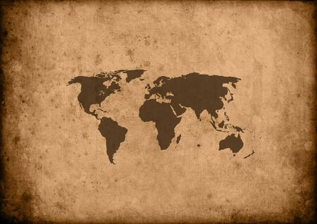 old postcards: papyrus world map brown background