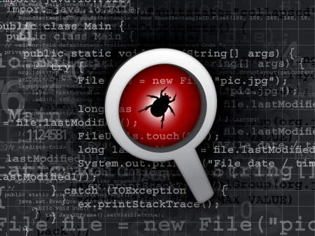 virus bug in program code  Stock Photo