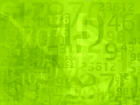 green background with abstract numbers photo