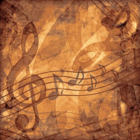 notes musicales: musique de fond mill�sime s�pia Banque d'images