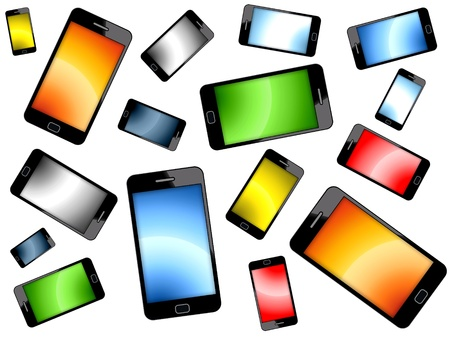 Colored Smart Phones Background photo