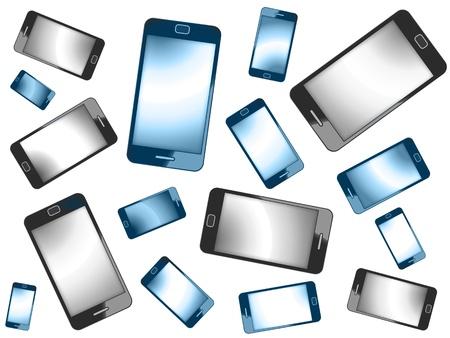 Modern Smart Phones Isolated On White Background photo