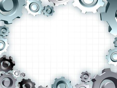 technic:  gears frame industrial technic border