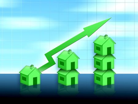 home value: house property value up Stock Photo