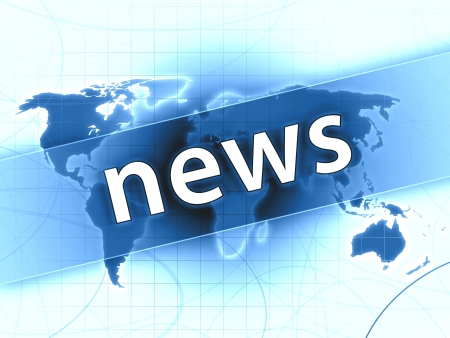 blue news press illustration concept world map