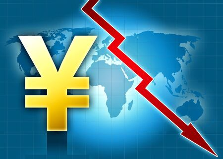 yen sign: yen currency crisis world map red arrow blue background illustration
