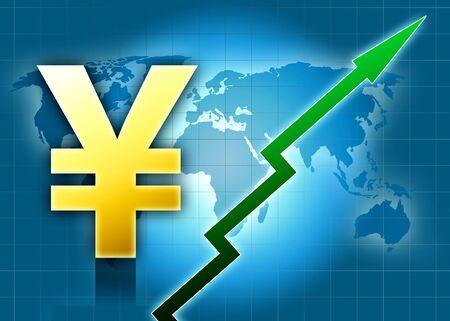 yen value grow world green arrow blue background illustration illustration