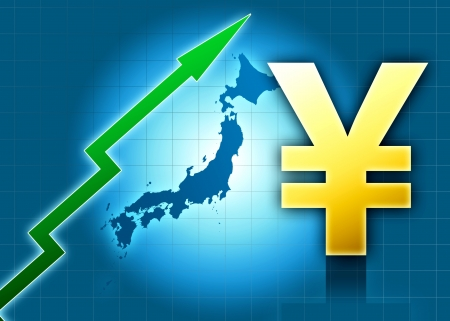 increment: japan yen increasing value green arrow  blue background Stock Photo