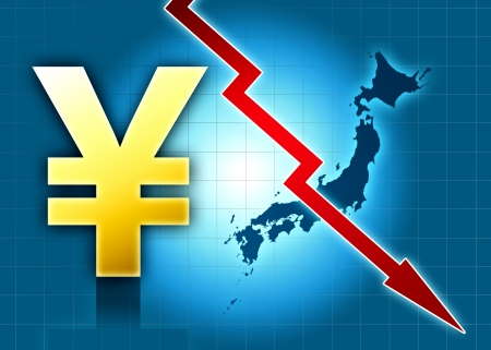 yen japan crisis decreasing value red arrow  blue background photo