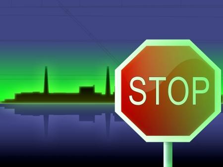 tsunami: japan fukushima press and red stop sign Stock Photo