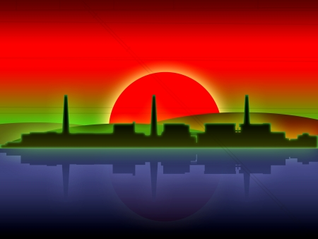 japan atomic power station red sun illustration illustration