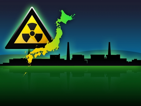 fukushima japan map and radioactivity sign illustration illustration