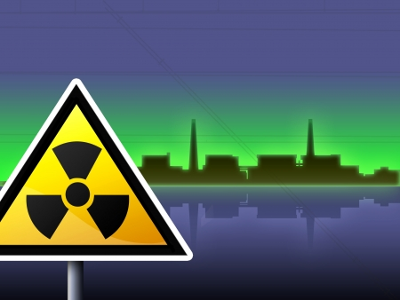 dark illustration japan fukushima radioactivity sign - green blue illustration