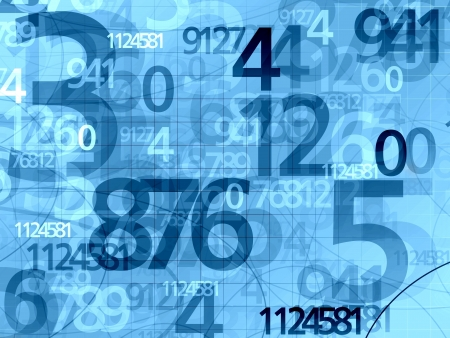 numbers: blue random numbers background illustration