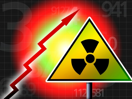 radiation up red alert illustration concept Stock Photo