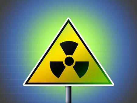 radiactividad: radioactividad signo de peligro sobre fondo verde y azul