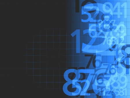 grid black background: dark blue random numbers background illustration