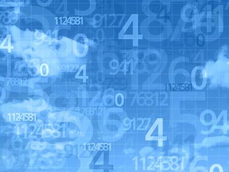 blue dream sky numbers background illustration Zdjęcie Seryjne