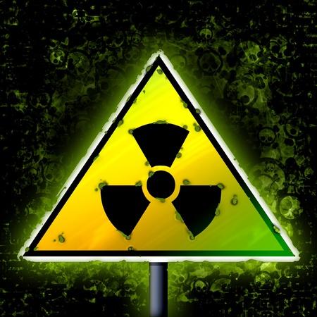 radiactividad: radiactividad peligro oscuro del grunge signo
