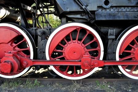 railway history: old locomotive red wheels