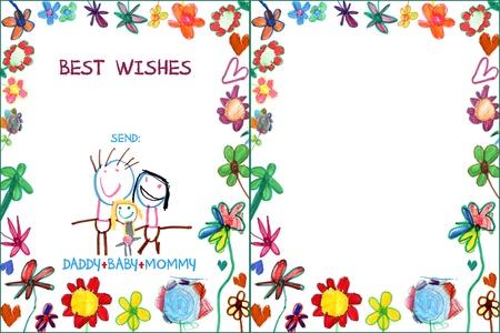 carte enfant famille de voeux avec des fleurs illustration Banque d'images
