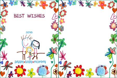 child greeting family card with flowers illustration Stock Photo
