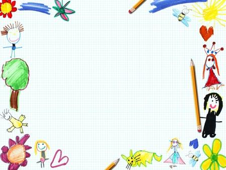 dessin enfants: enfant hiver illustration cadre de la carte