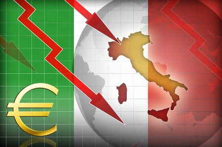 credit crisis: italy crisis background illustration concept Stock Photo