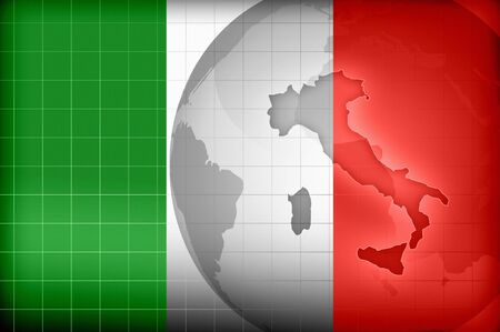 Map and flag of Italy background illustration illustration